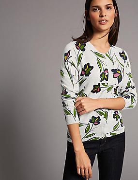 Pure Cashmere Floral Print Cardigan, GREY MIX, catlanding
