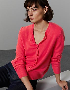 Pure Cashmere Button Through Cardigan, CRIMSON, catlanding