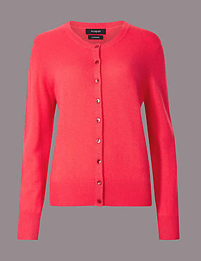 Pure Cashmere Button Through Cardigan, CRIMSON, catlanding