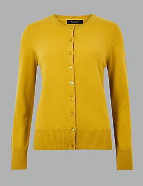 Pure Cashmere Button Through Cardigan, HONEY, catlanding