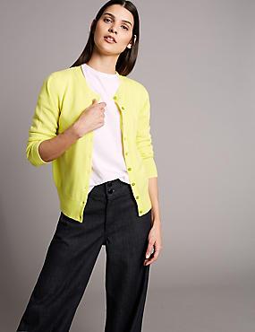Pure Cashmere Button Through Cardigan, MIMOSA, catlanding