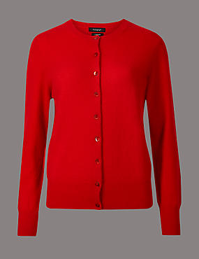 Pure Cashmere Button Through Cardigan, CHILLI, catlanding