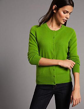 Pure Cashmere Button Through Cardigan, GRASS, catlanding