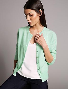 Pure Cashmere Button Through Cardigan, PALE JADE, catlanding