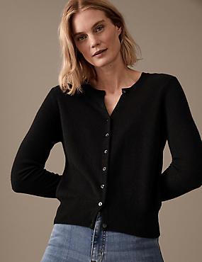 Pure Cashmere Button Through Cardigan, BLACK, catlanding
