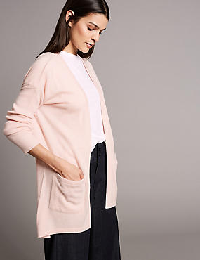 Pure Cashmere Split Back Cardigan, BLUSH, catlanding