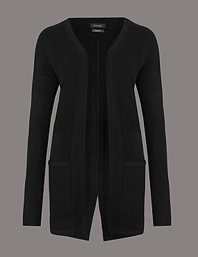 Pure Cashmere Split Back Cardigan, BLACK, catlanding