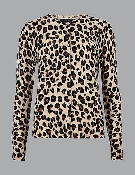 Pure Cashmere Animal Print Cardigan