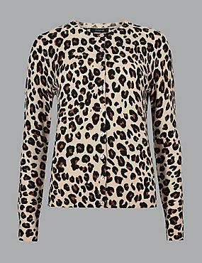 Pure Cashmere Animal Print Cardigan, CAMEL MIX, catlanding