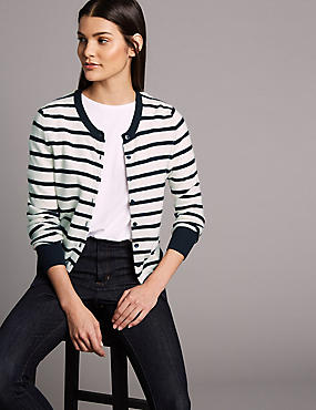 Pure Cashmere Striped Round Neck Cardigan