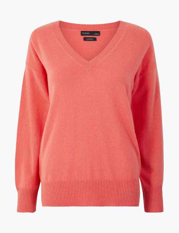 ce5b35e6c71647 Pure Cashmere Relaxed V-Neck Jumper
