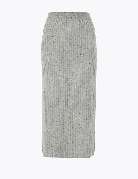 Pure Cashmere Ribbed Knit Midi Skirt