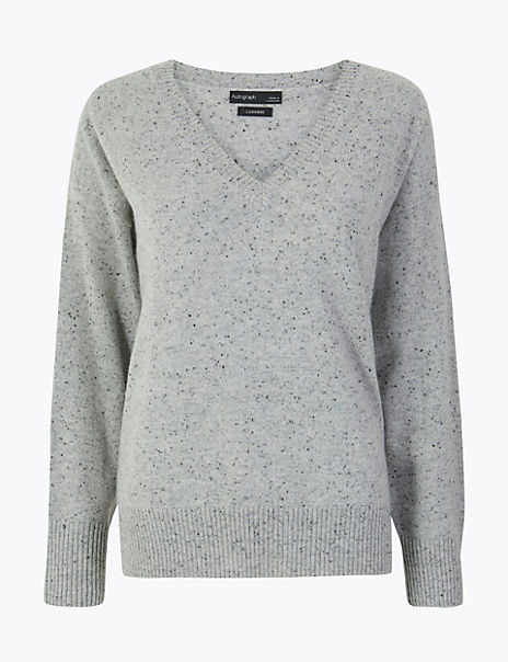 Pure Cashmere Relaxed V-Neck Jumper