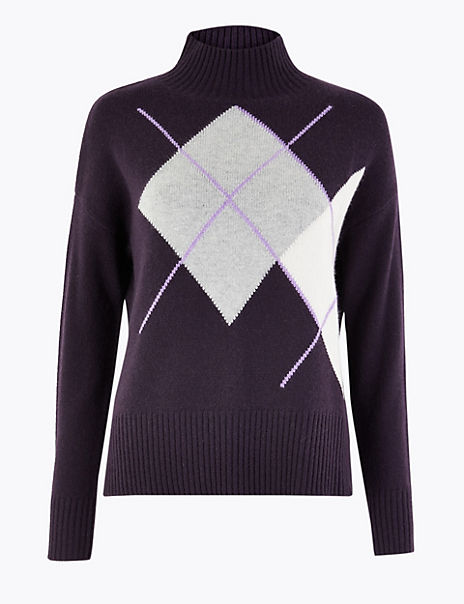 Cashmere Argyle Turtle Neck Jumper