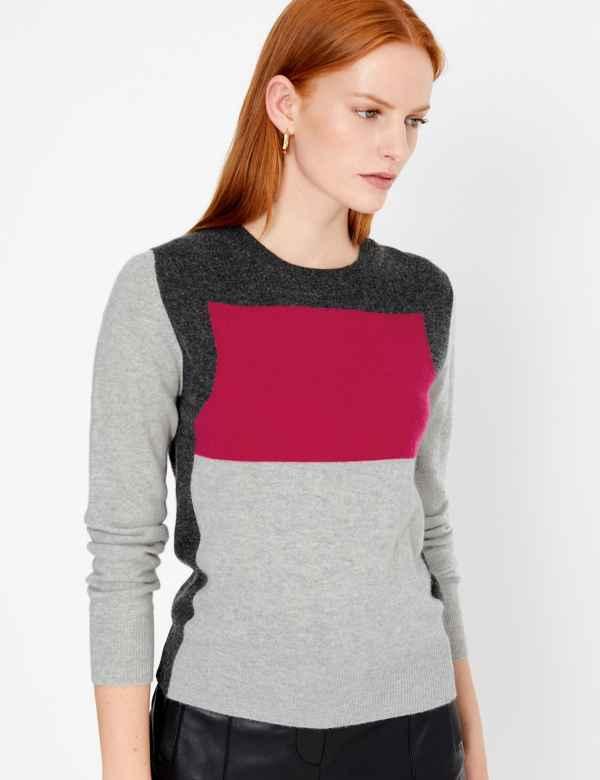 199e21493b6167 Pure Cashmere Colour Block Jumper