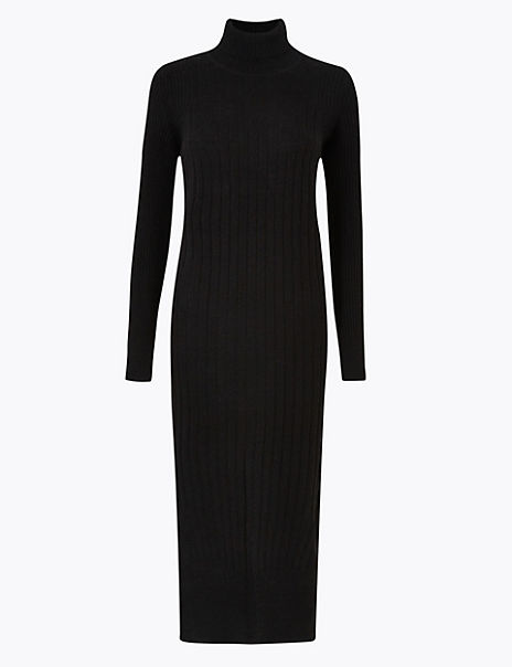 Pure Cashmere Ribbed Knitted Dress