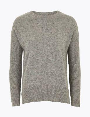 Womens Autograph Pull côtelé 100 % cachemire - Grey Mix