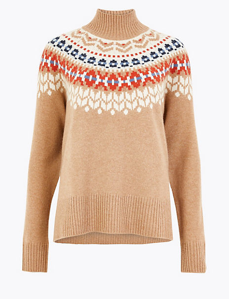 Pure Cashmere Fair Isle Roll Neck Jumper