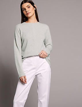 Pure Cashmere Split Back Round Neck Jumper