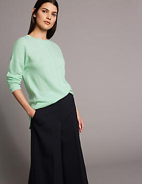 Pure Cashmere Split Back Round Neck Jumper, PALE JADE, catlanding