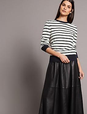Pure Cashmere Striped Round Neck Jumper, CREAM MIX, catlanding