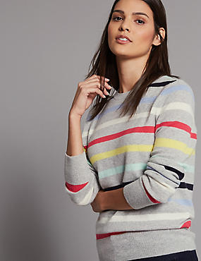 Pure Cashmere Striped Round Neck Jumper, GREY MIX, catlanding