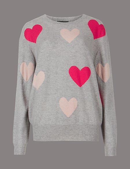 Pure Cashmere Oversized Heart Print Jumper