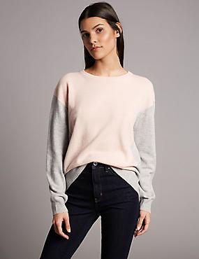 Pure Cashmere Oversized Colour Block Jumper, GREY, catlanding
