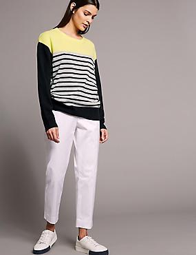 Pure Cashmere Oversized Contrast Yoke Jumper, NAVY MIX, catlanding