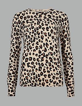 Pure Cashmere Animal Print Jumper , CAMEL MIX, catlanding