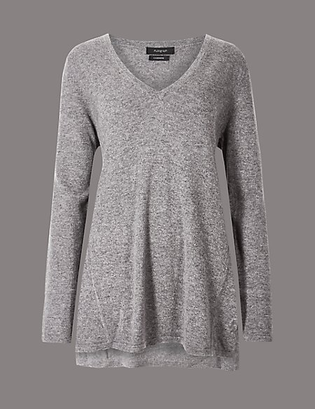 Pure Cashmere Textured Longline Jumper