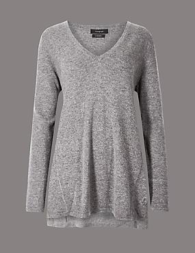 Pure Cashmere Textured Longline Jumper, MID GREY, catlanding