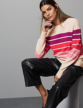 Pure Cashmere Colour Block Jumper, PINK MIX, catlanding