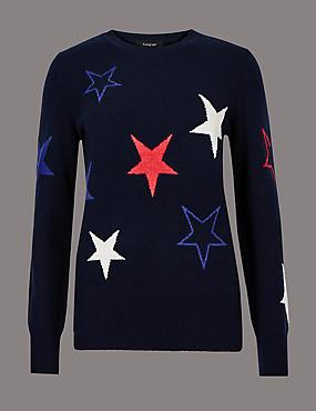 Pure Cashmere Star Long Sleeve Jumper, NAVY MIX, catlanding