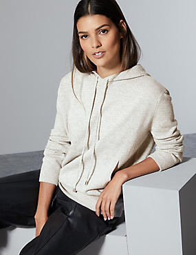 Pure Cashmere Hooded Jumper  , GREY MIX, catlanding