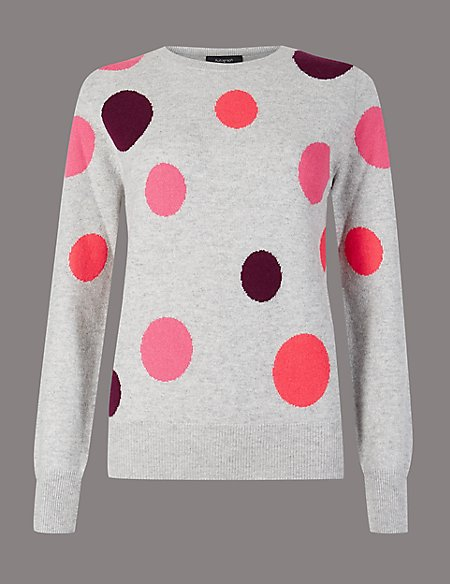 Pure Cashmere Spotted Round Neck Jumper