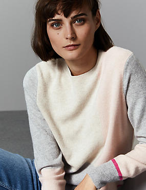 Pure Cashmere Colour Block Jumper , PINK MIX, catlanding