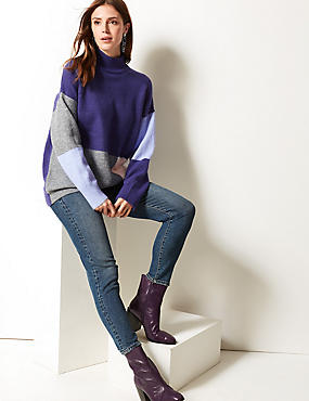 Colour Block Funnel Neck Longline Jumper , PURPLE MIX, catlanding