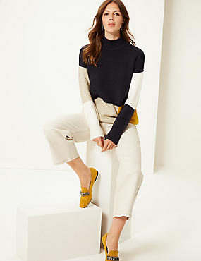 Colour Block Funnel Neck Longline Jumper , NAVY MIX, catlanding