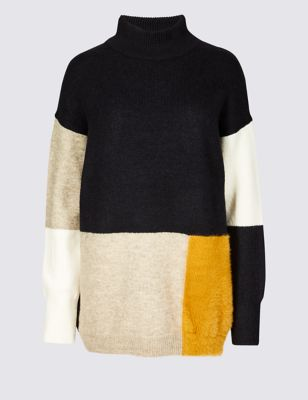 Colour Block Funnel Neck Longline Jumper by Marks & Spencer
