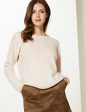 Embroidered Round Neck Jumper  , OATMEAL, catlanding