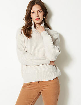 Textured Roll Neck Jumper, OATMEAL, catlanding