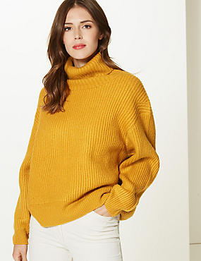 Textured Roll Neck Jumper, OCHRE, catlanding