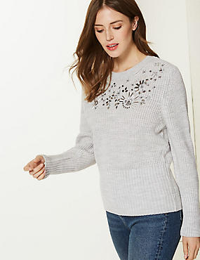 Embellished Round Neck Jumper