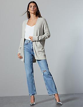 Pure Cashmere Textured Longline Cardigan  , GREY, catlanding