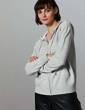 Pure Cashmere Zipped Through Hooded Jumper, GREY MIX, catlanding
