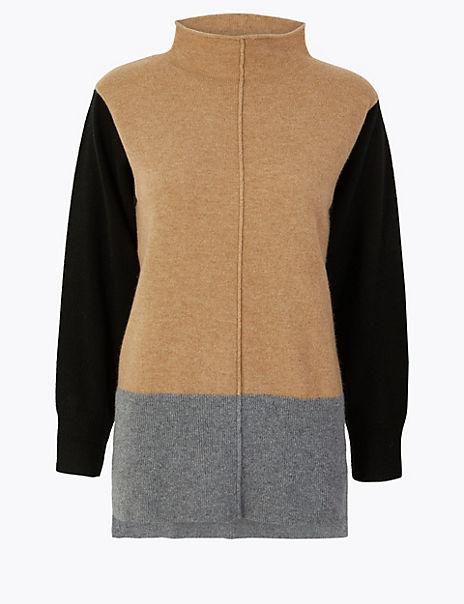 Pure Cashmere Colour Block Jumper