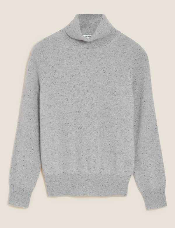 cb8bbbf0ca3047 Pure Cashmere Textured Roll Neck Jumper