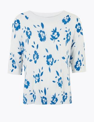 Linen Floral Relaxed Knitted Top