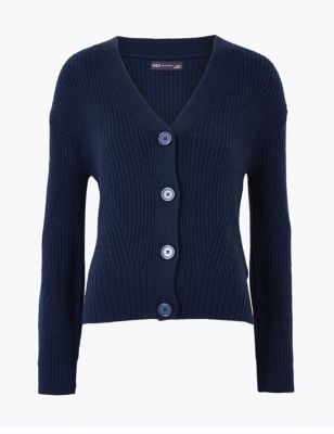 Cotton Ribbed Cardigan with Wool